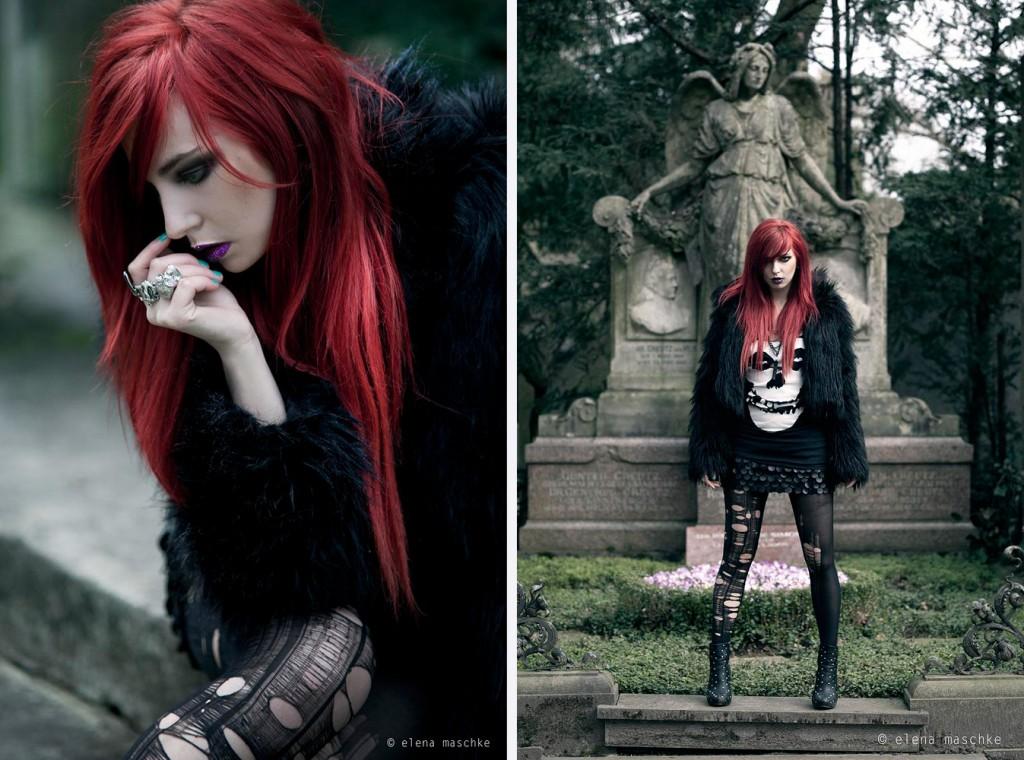 masha sedgwick elena maschke cemetery fashion shoot photography red hair wasted