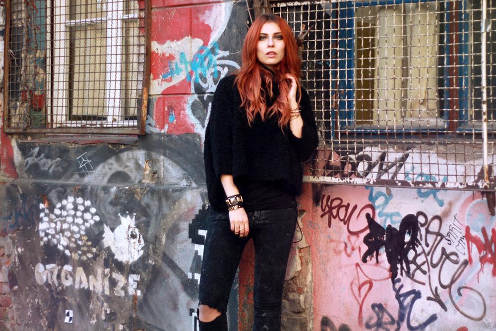 Berlin Fashion Week Street style black Masha Sedgwick Jeffrey Campbell Zara rock alternative cool january 2014