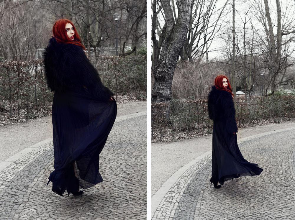 Masha Sedgwick Kim Ahrens Kiamisu Shooting düster gotisch schwarz traurig Berlin Neptunbrunnen Winter