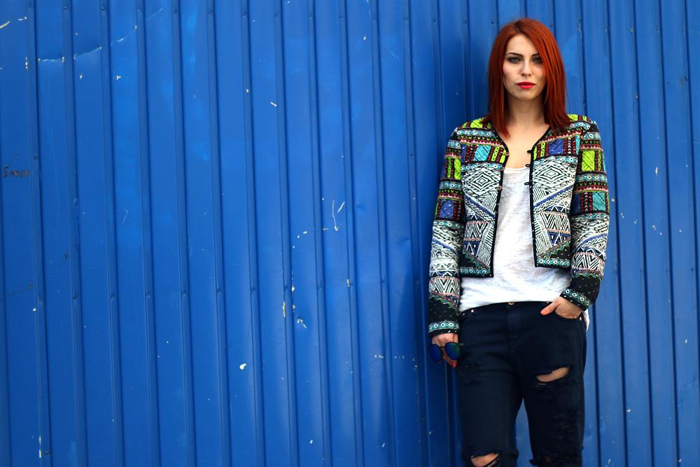 Zalando gewinnspiel gutschein code destroyed denim motto mode blogger fashion berlin masha sedgwick blog sommer outfit bunte jacke statement 2014 trend