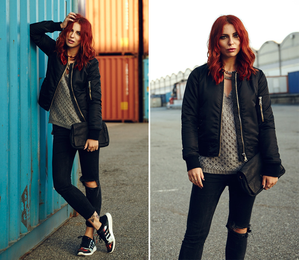 outfit energy boost adidas gas sweater liebeskind berlin street style look fashion blogger sporty cool black