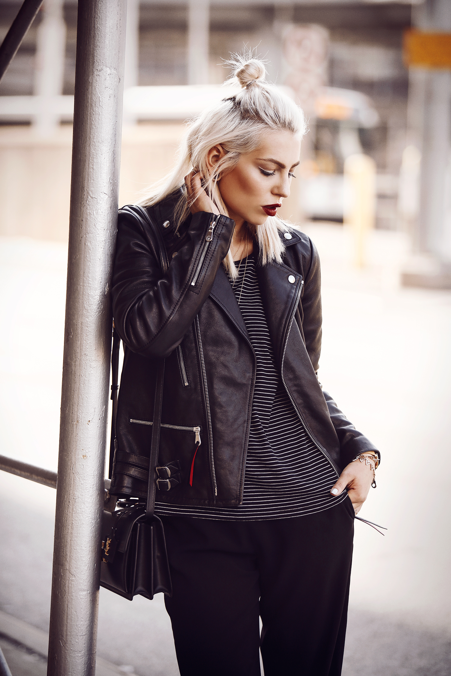 street style from New York via Masha Sedgwick | featuring the Saint Laurent High School bag and a Mulberry leather jacket