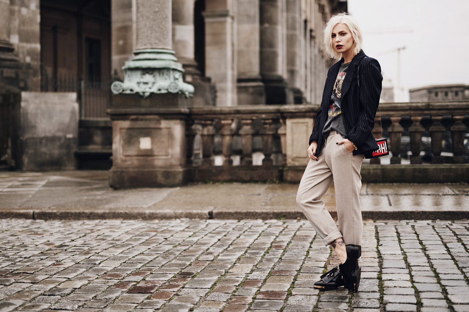 view more details on my blog | wearing an Iron Maiden band shirt with a blazer and loafers | mixing edgy, grunge and classy | street style, fashion, outfit
