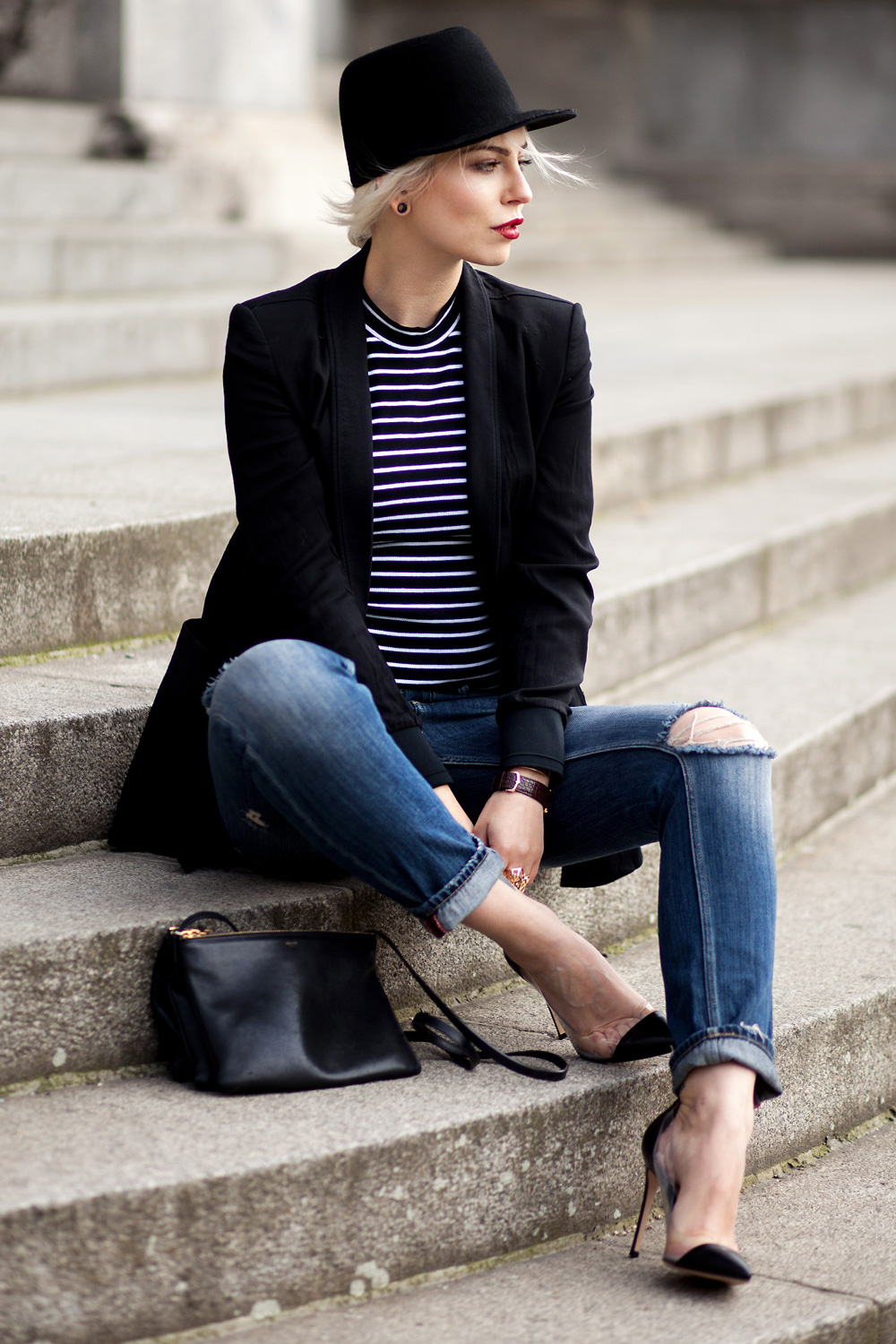 elegant | view more details on my blog | stripes | outfit | fashion | street style from Berlin | chic | wearing Celine Trio, Cartier watch and ring, Gianvito Rossi transparent shoes | lose fit jeans