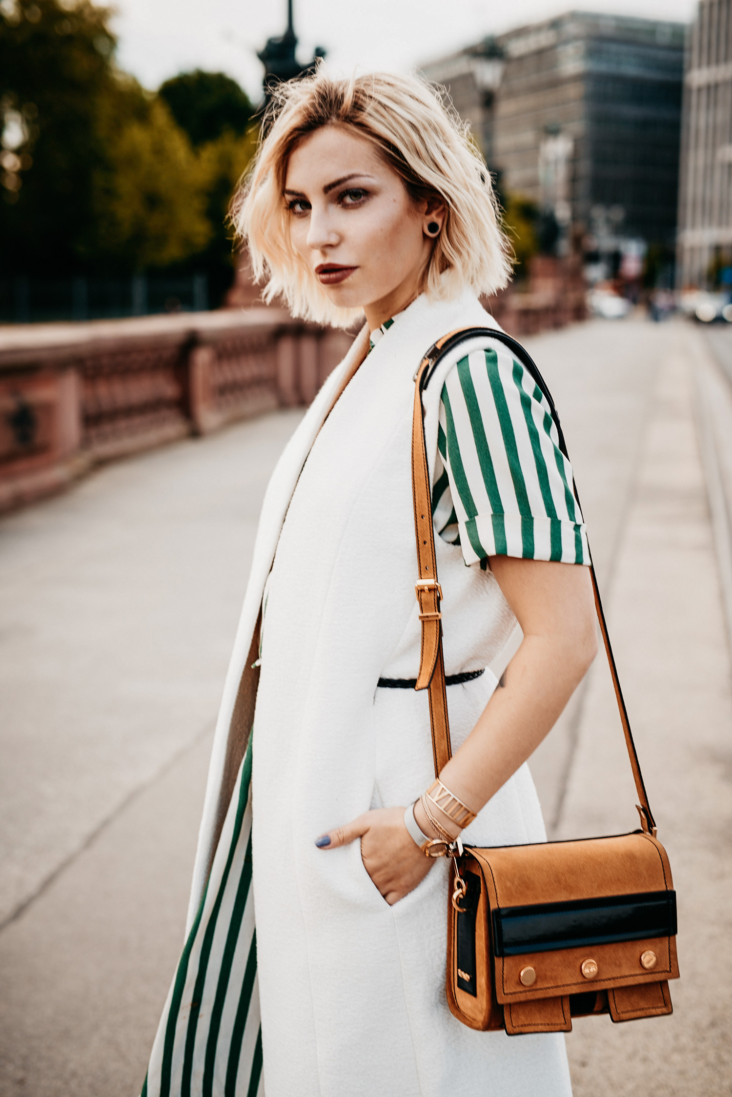 Amazon Fashion campaign | Look like you | #saysomethingnice | long green dress and a long white vest