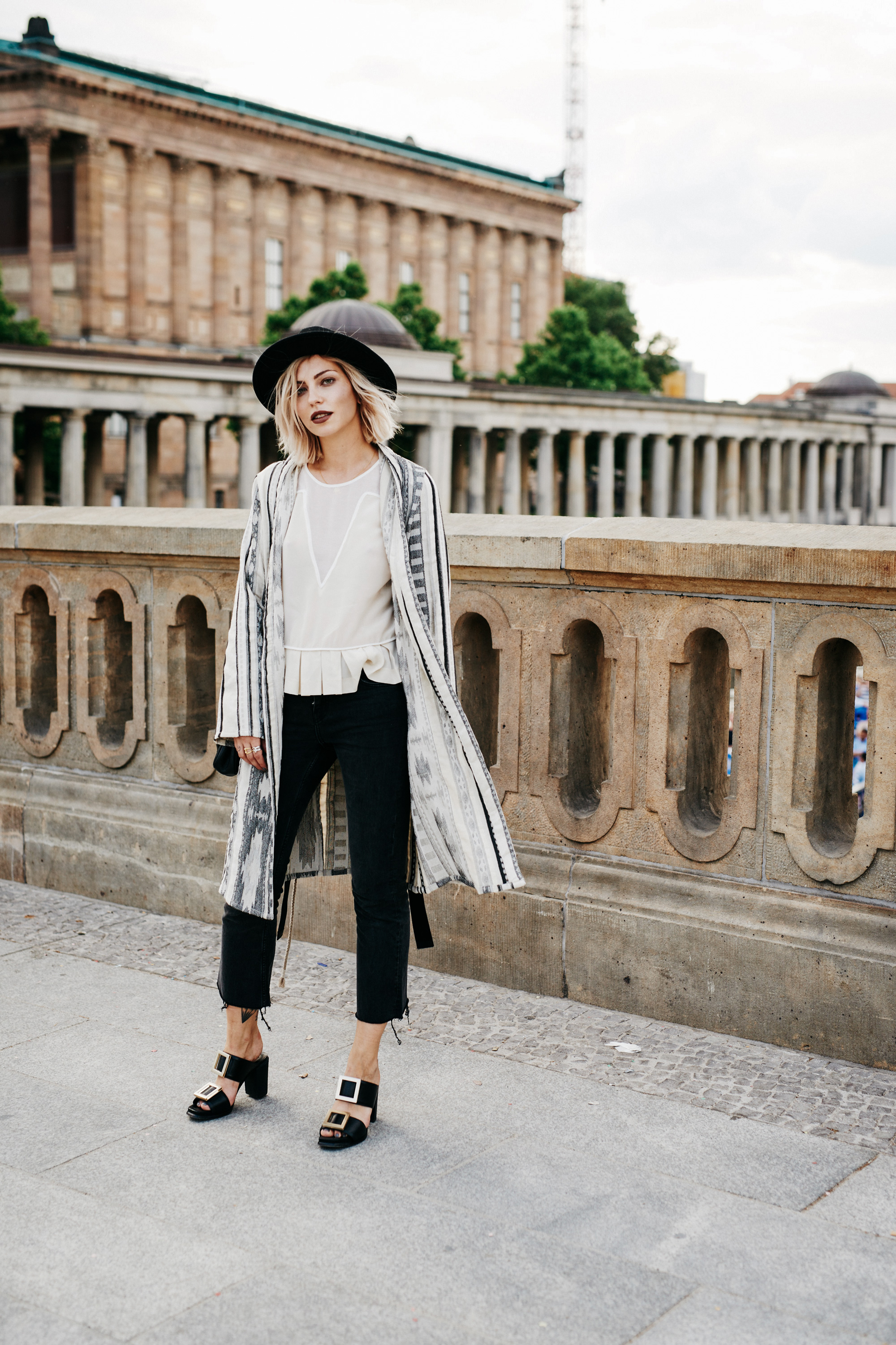 style: ethno, boho edgy, feminine | taken in Berlin | outfit: coat from drykorn, nude silk top from Sandro