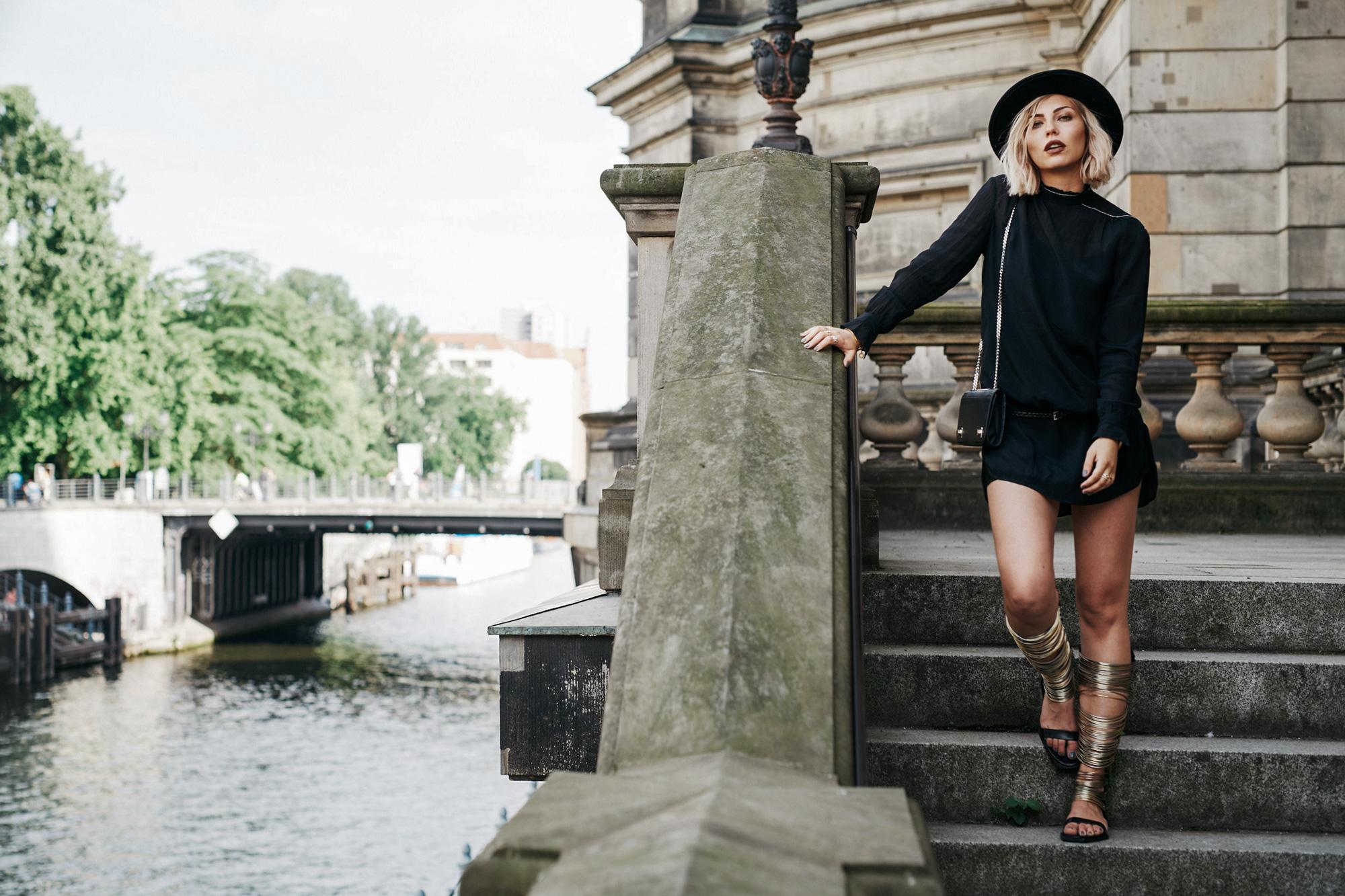 the little black dress from Baum & Pferdgarten, a scandinavian designer   style: edgy, boho, chic   vic matie metal sandals   find more pictures on my blog