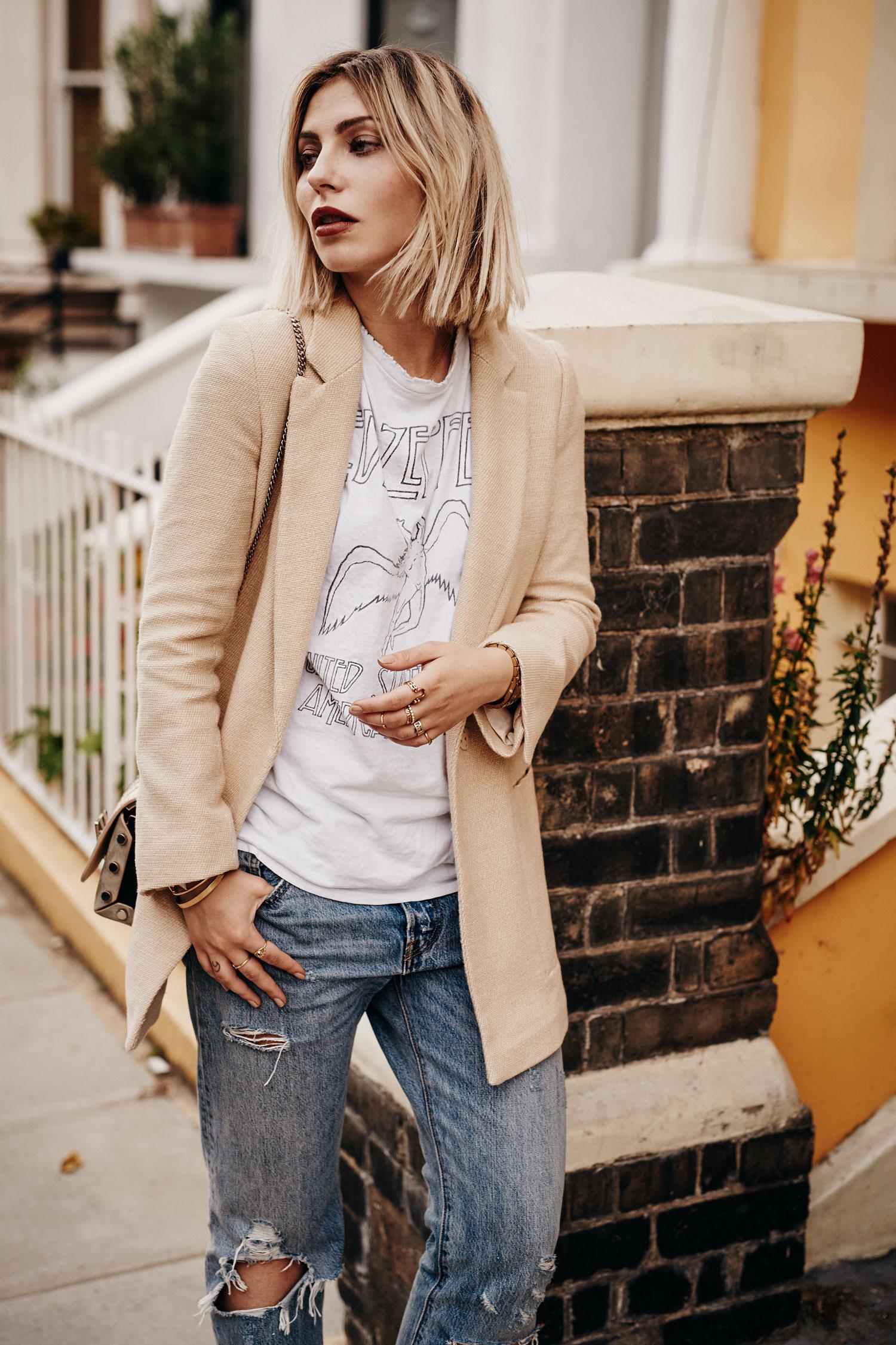солнечная погода | образ и мода | стиль: горячий, повседневный, желтый, летний | расположение: Лондон, notting hill | лейблы: сандалии и сумка Jimmy Choo, джинсы Levis 501, пиджак Zara, винтажная рубашка группы Led Zeppelin | подробности ищите в моем блоге