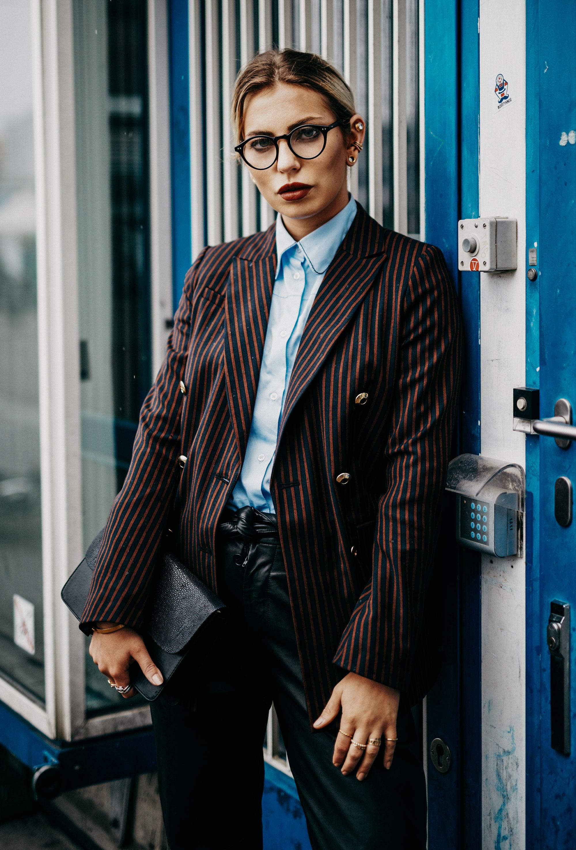 College, school, work style   edgy, formal   striped blazer and babyblue shirt from Baum & Pferdgarten
