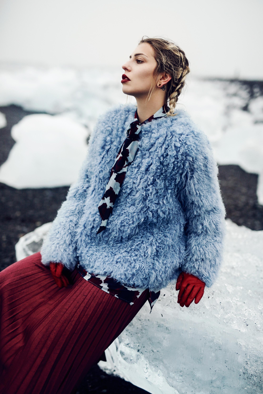 Diamond Beach   Ice princess editorial   location: Jökulsarlon    style: chic, colorful, plissee skirt, sexy, winter