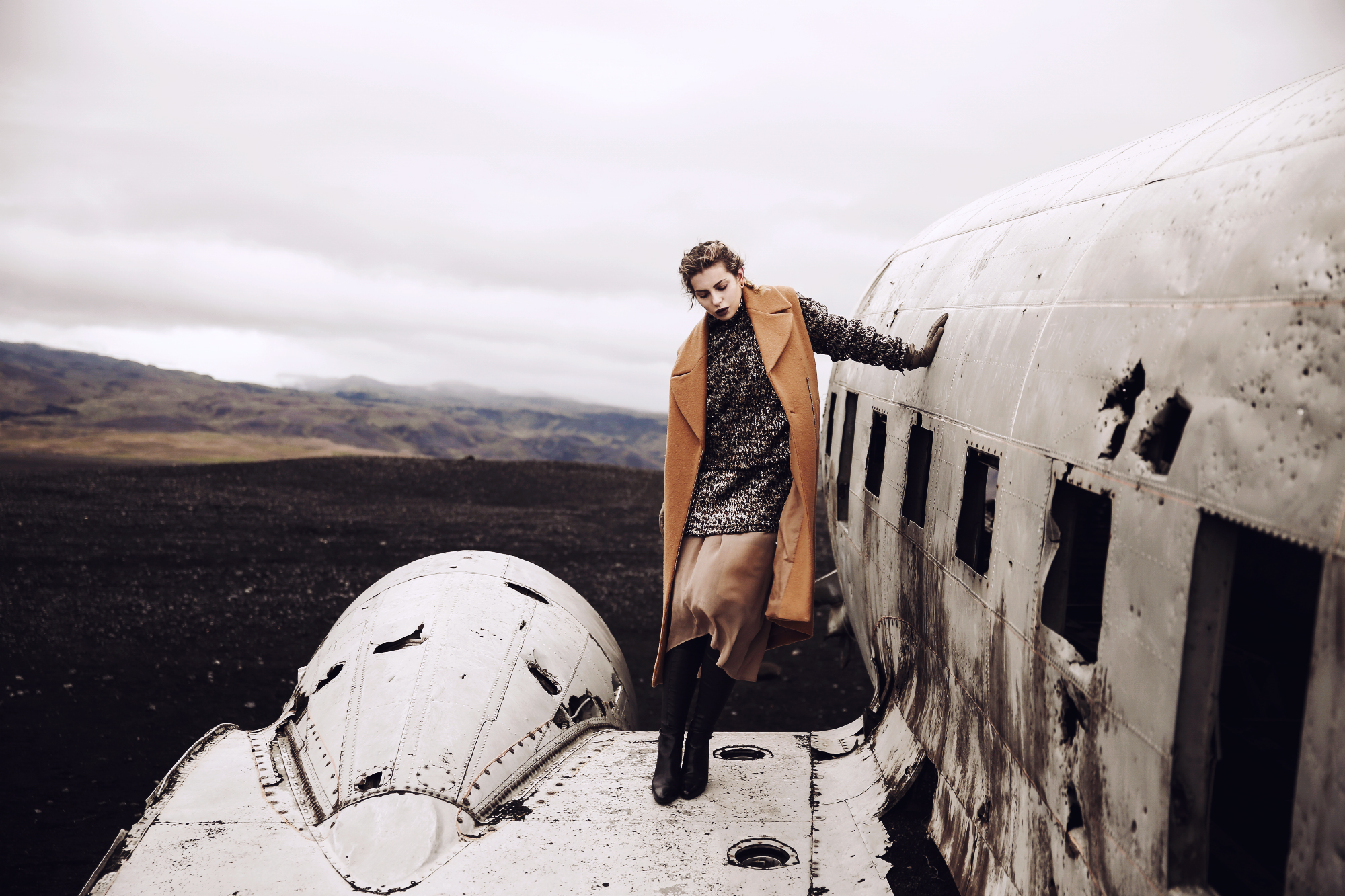 fashion editorial shoot in Iceland | plane crash |short story | style: glamorous, party, sequins, winter
