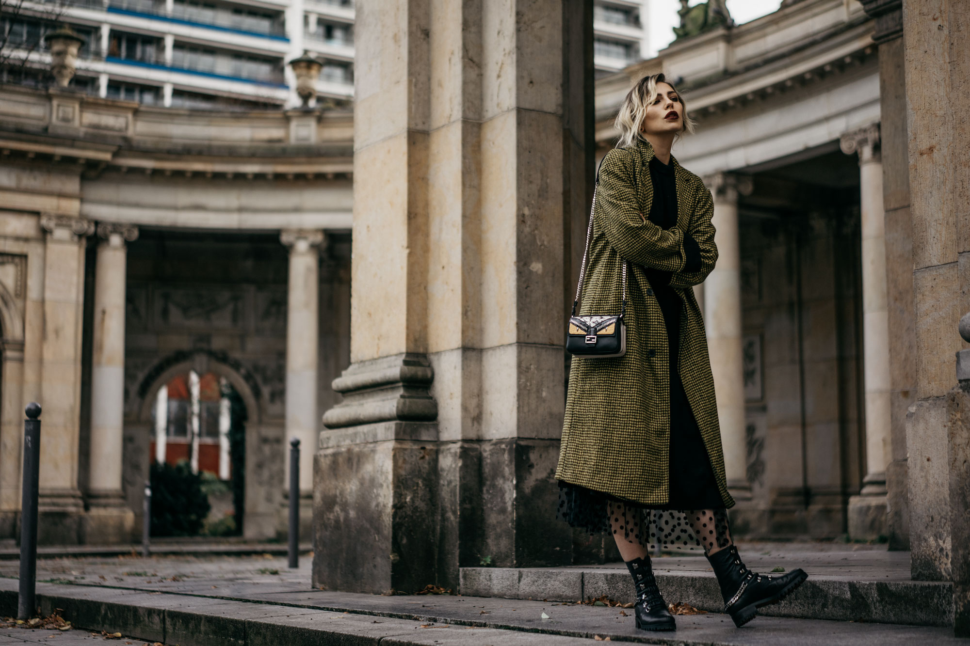 How to: Berlin street style | fashion & outfit | wearing: flat Christian Louboutin boots, dots dress, Haider Ackermann coat, small Fendi double Baguette bag