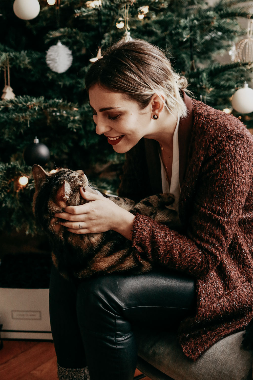 Christmas decoration: living room with cat content and Christmas tree | location: berlin