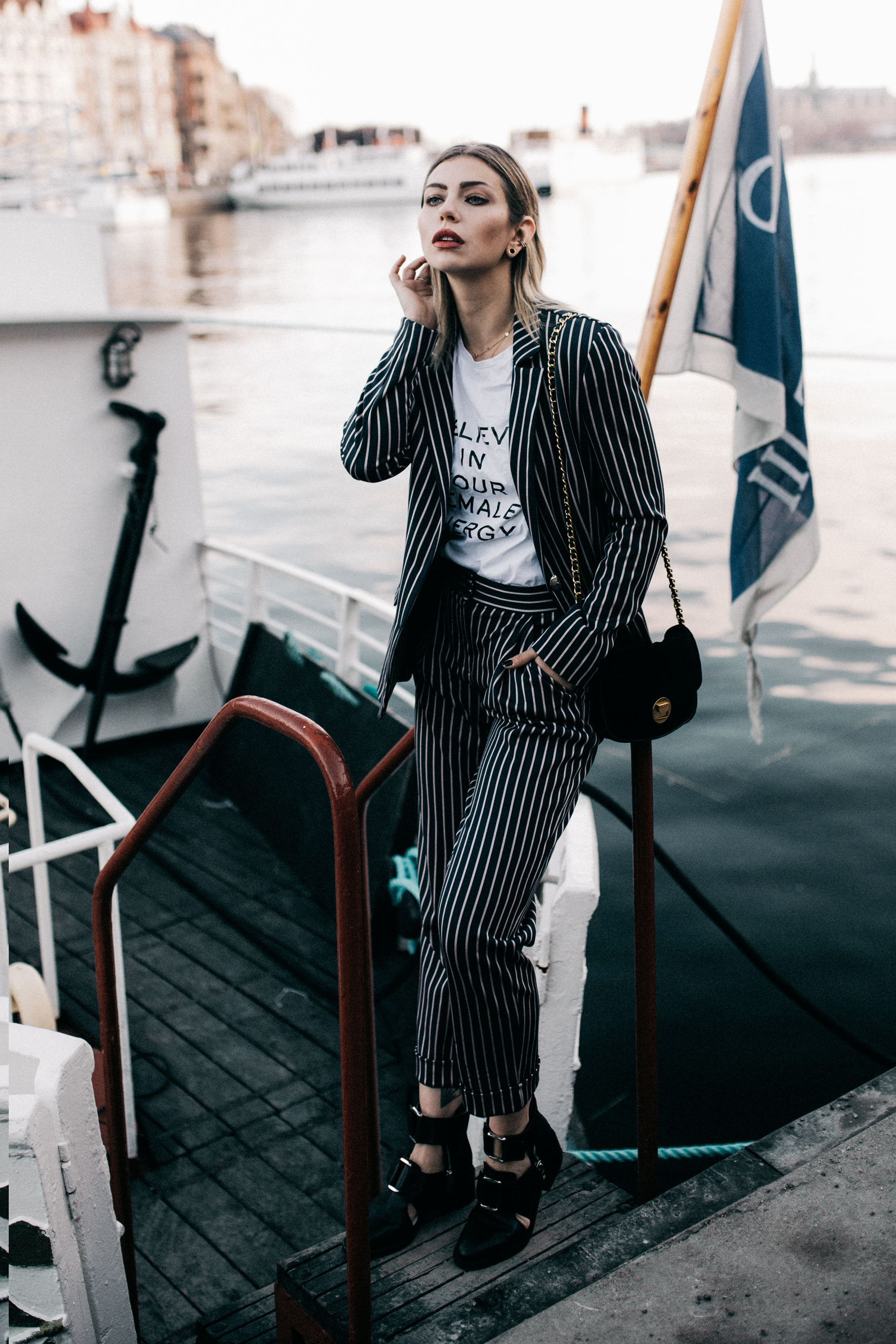 How to achieve your goals in 3 steps and not giving up | outfit: Two piece from Max & Co by Olivia Palermo, open boots from 3.1 Phillip Lim | style: stripes, dandy, business, tomboy, Statement shirt