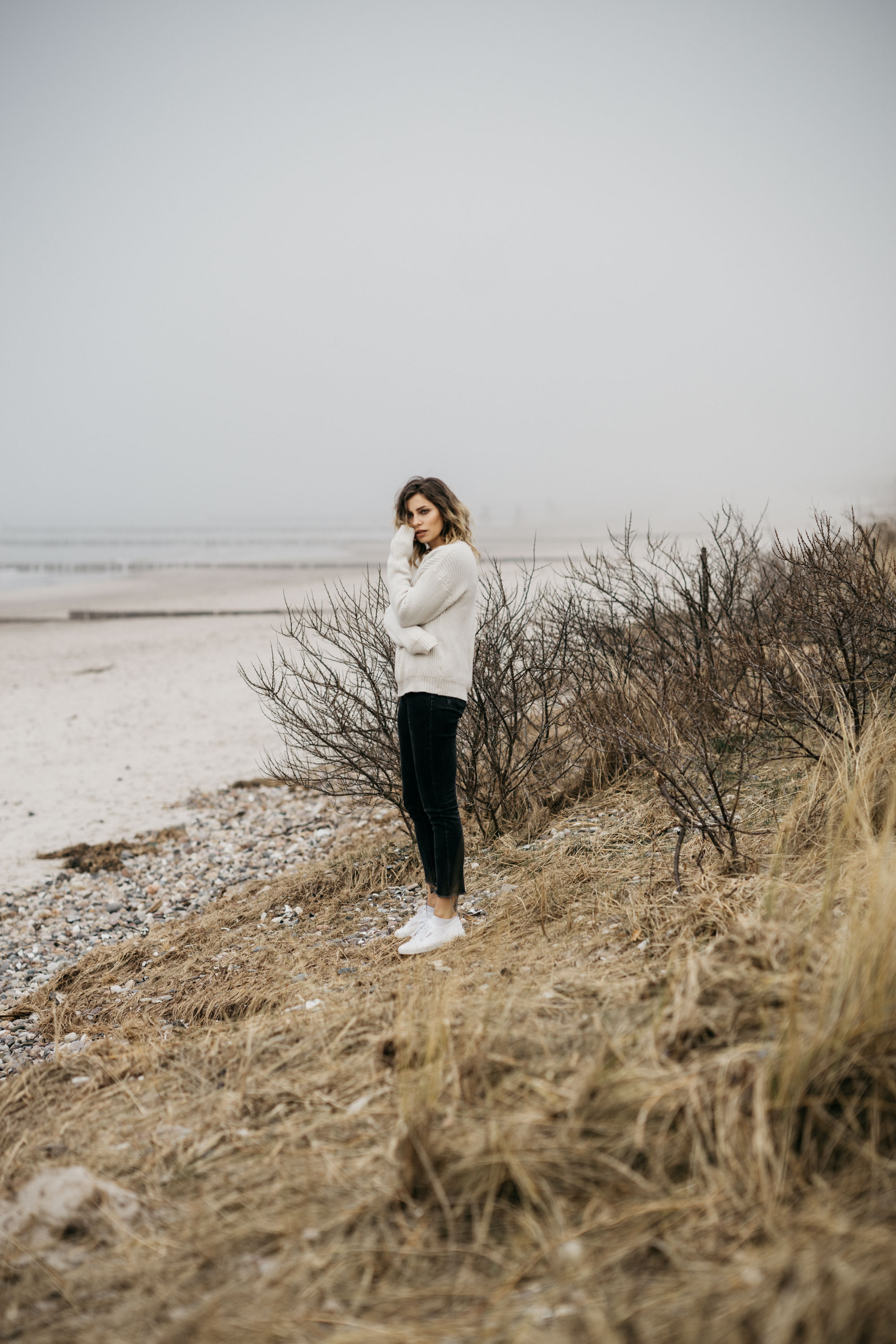 Baltic Sea | Fashion editorial mood | style: emotional, sad, stormy, ocean