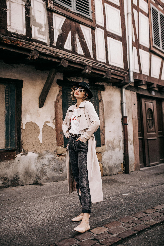 Уличный Стиль во Франции | стиль: легкий, простой, французский, весна, броский | как носить: рубашку (reve), mom jeans, пальто тренч и мои Fossil Hybrid Smartwatch
