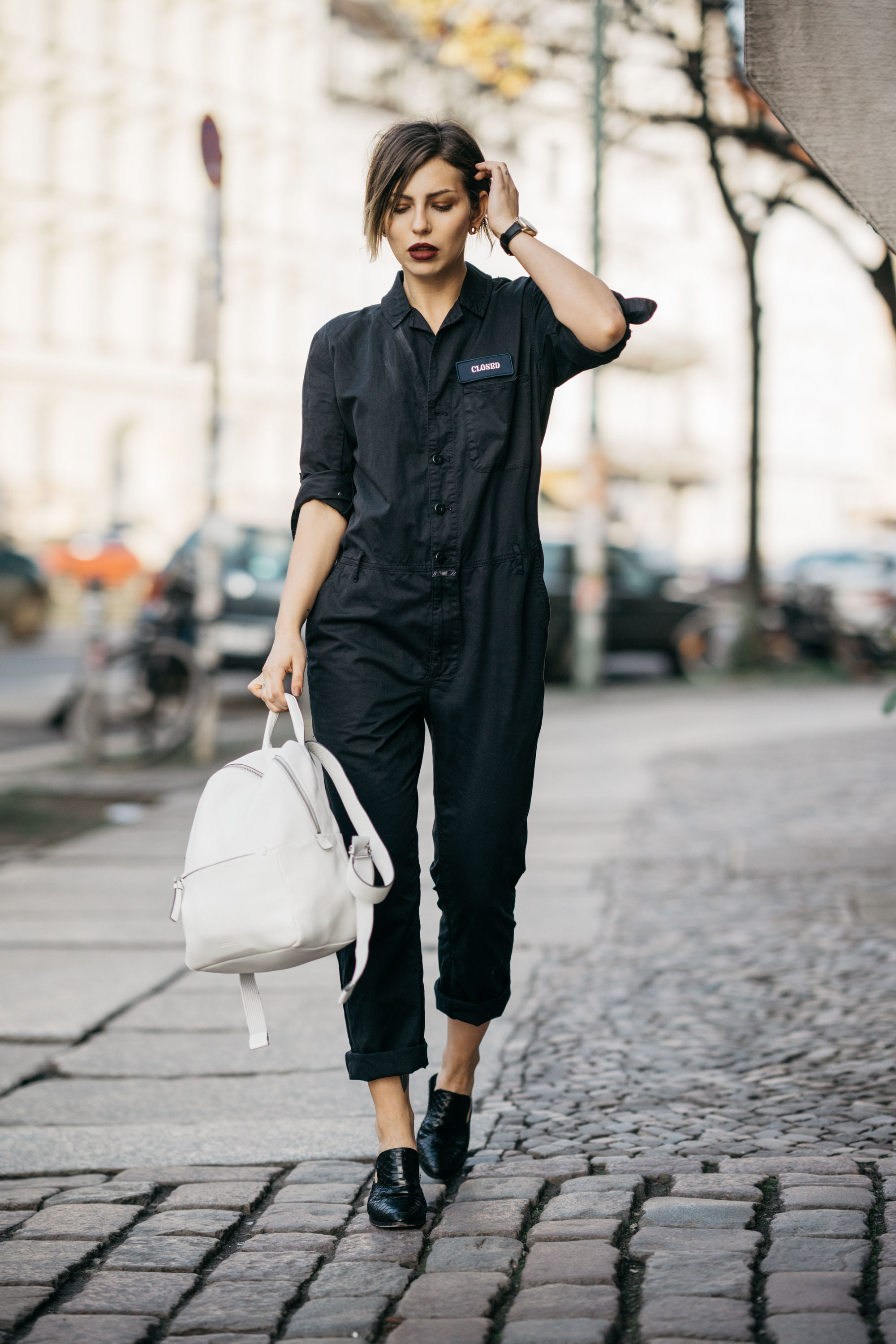 Masha Sedgwick & her stylish boilersuit from Closed | street style in Berlin