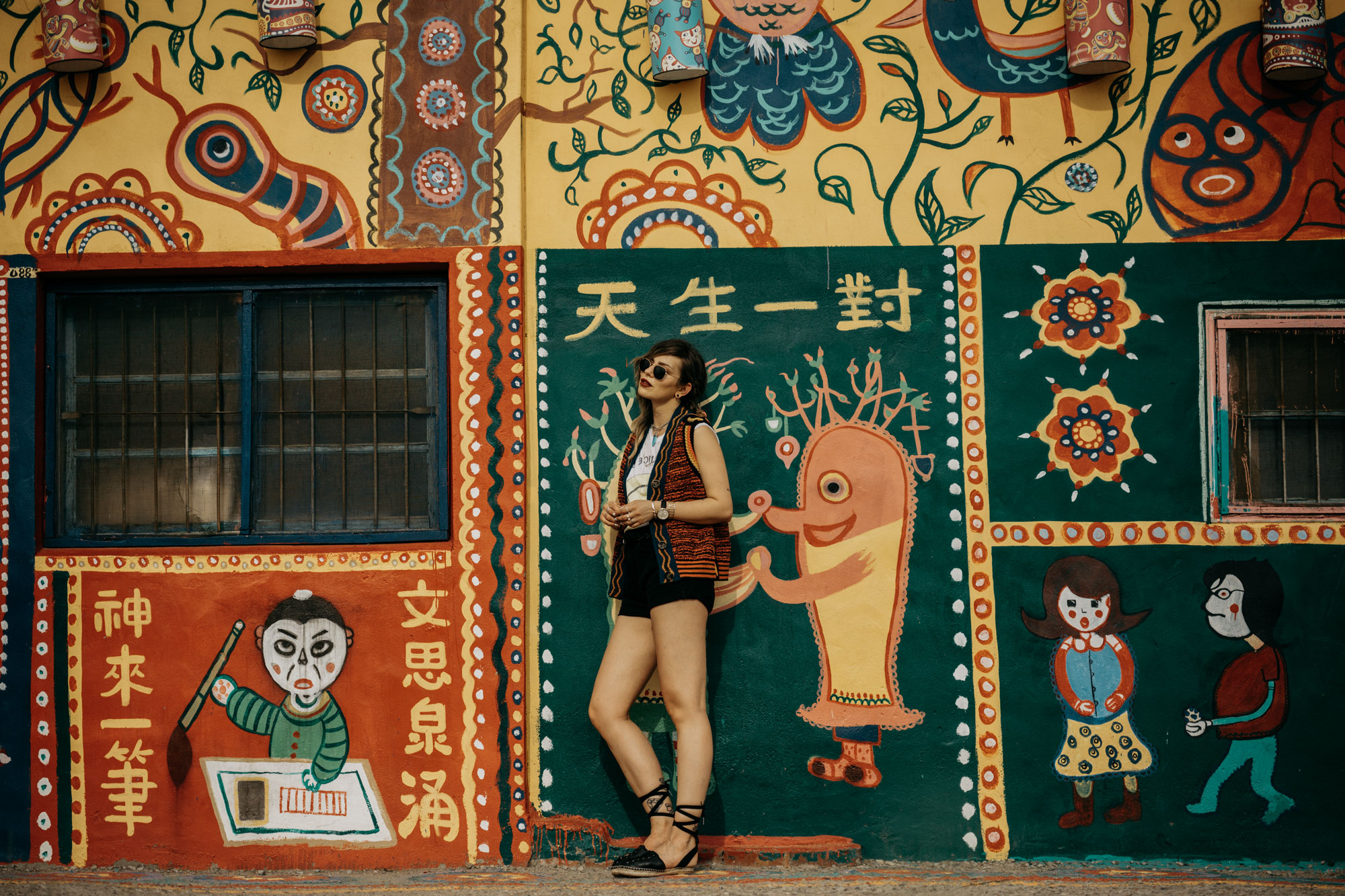 the story of the rainbow village in Taichung, Taiwan | editorial fashion shooting | outfit style: colorful, summer, sexy, happy, smiley | street art