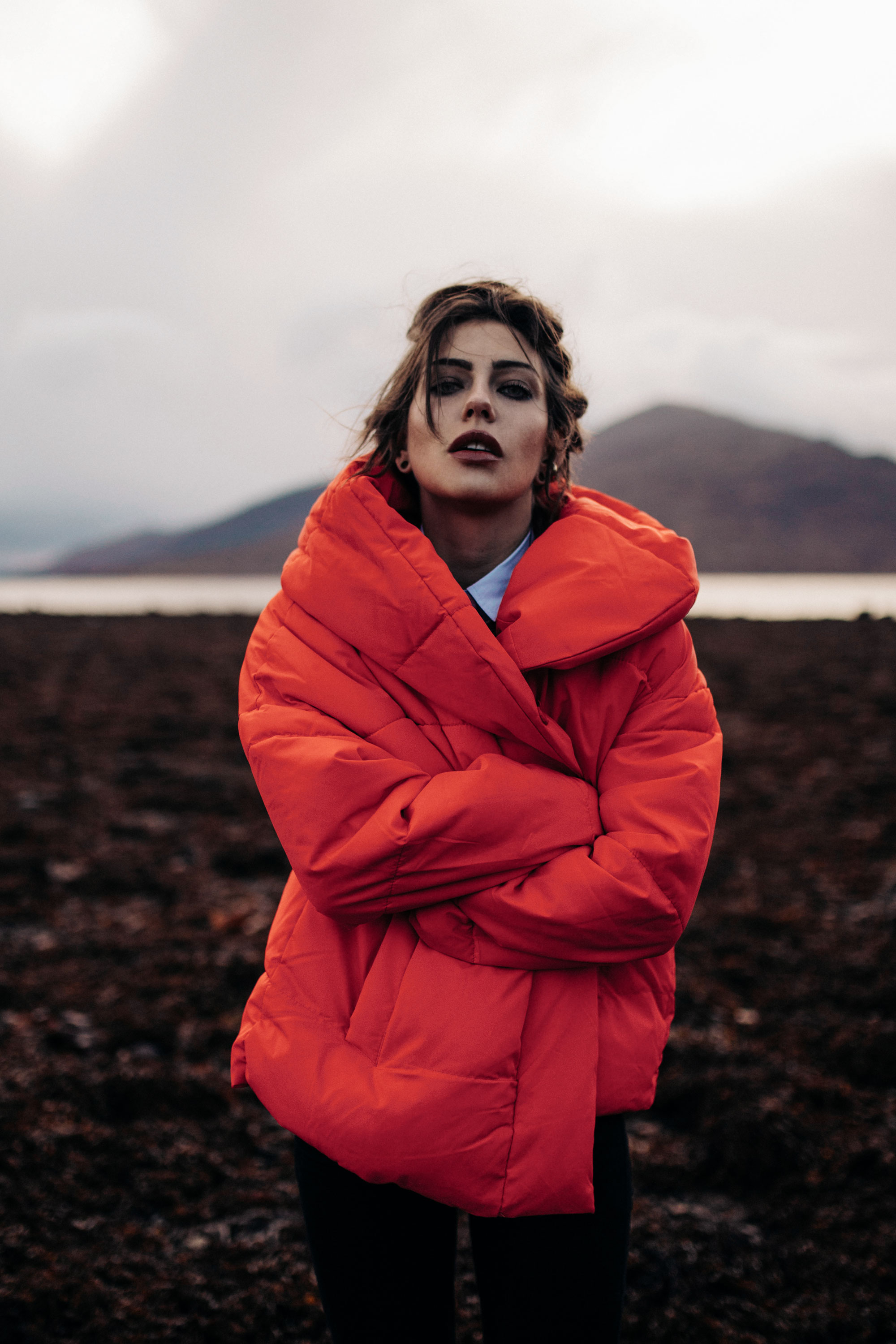red jacket from H&M | landscape | nature | winter | scotland | fashion Editorial Shooting