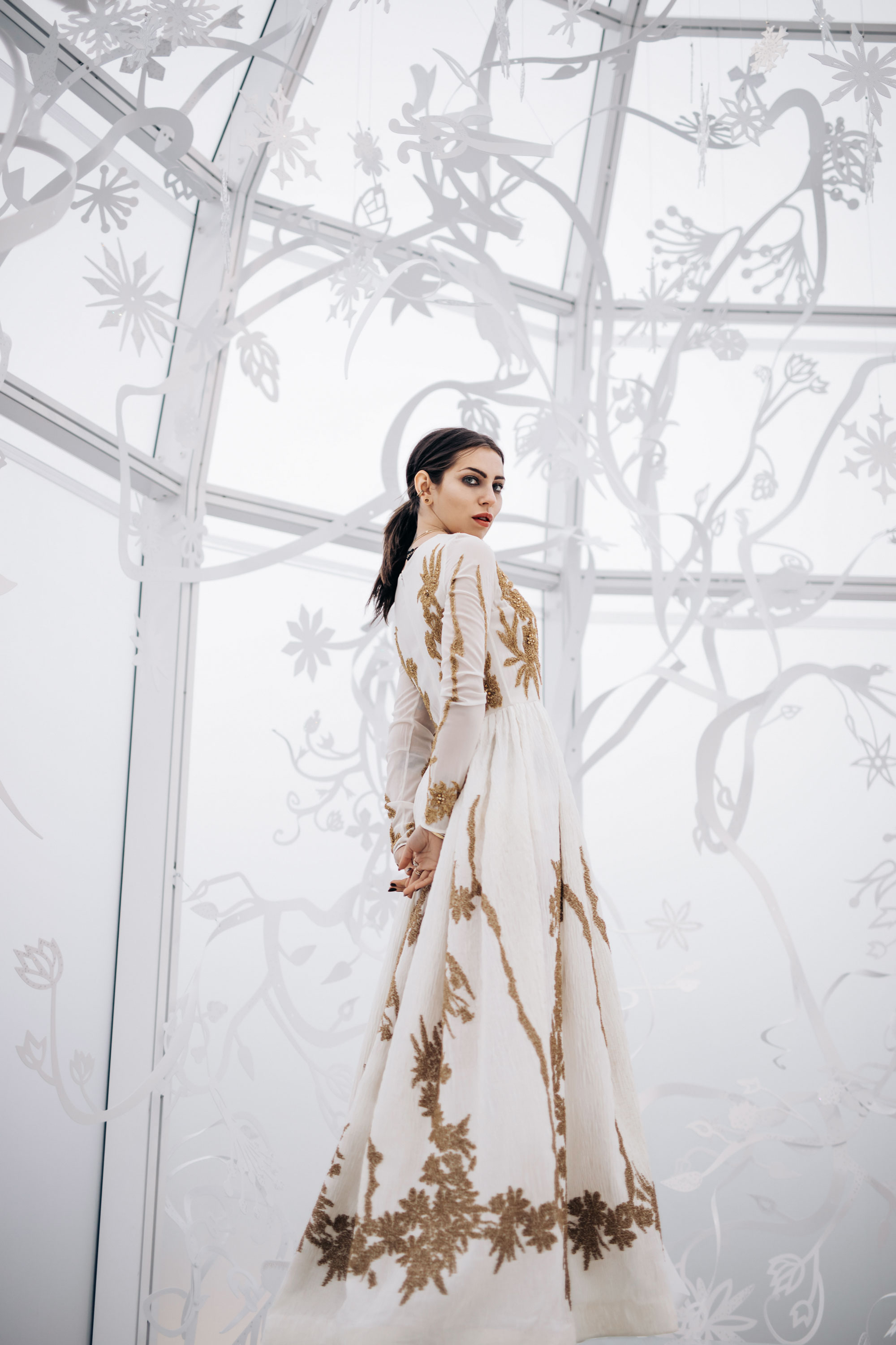 Editorial Shooting in Swarovski Crystal World in Innsbruck, Austria in evening dress from Escada | style: ice princess, snow queen, bridal fashion, bride, Elsa | fashion | inspiration | winter | christmas