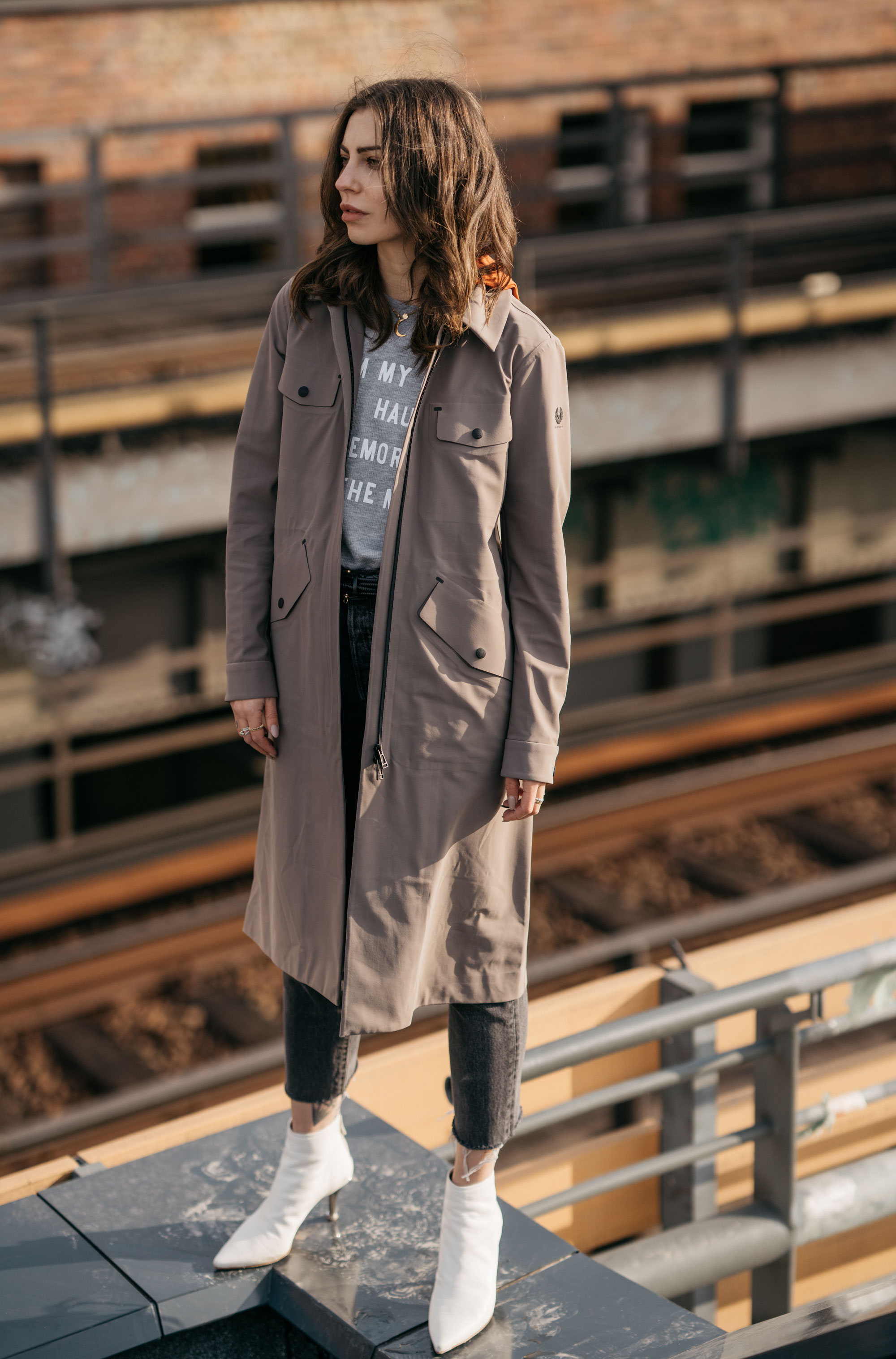 Street Style in Berlin | brands: Belstaff, AGL shoes, Levi's 501 | Trend: rain coat, white boots | BVG | parking lot | shooting | fashion | outfit | ootd