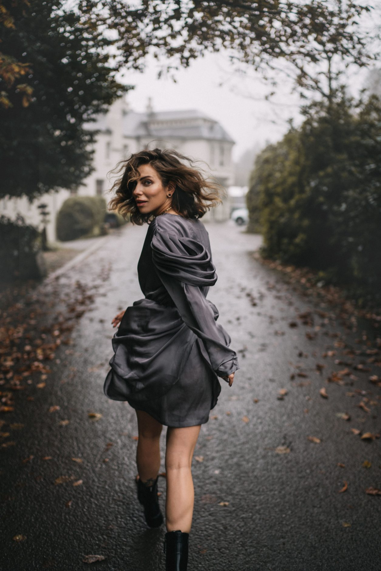 Fashion Editorial via blogger Masha Sedgwick   mood: foggy, moddy, dark woods, spooky, Halloween, festive, vintage, in the movement, running, fog   grey party dress via Designers Remix (sustainable)   Location: Beech Hill House Hotel in Northern Ireland (Londonderry)  