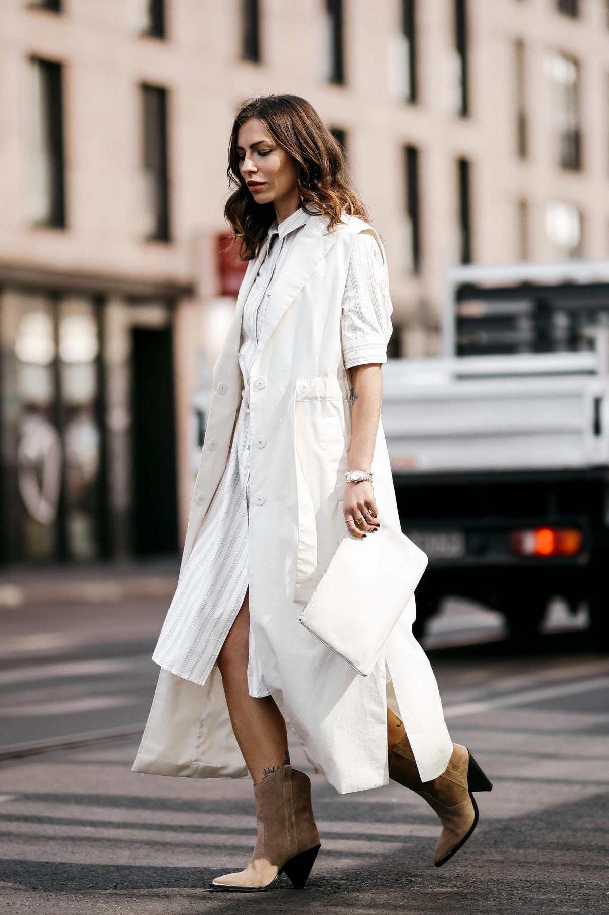 All White Dress Layering