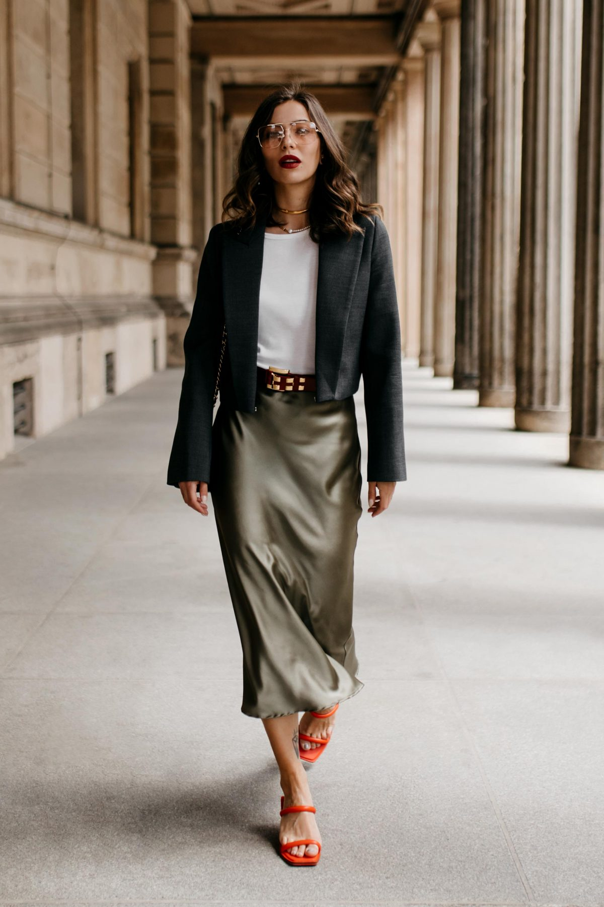 The Midi Satin Skirt