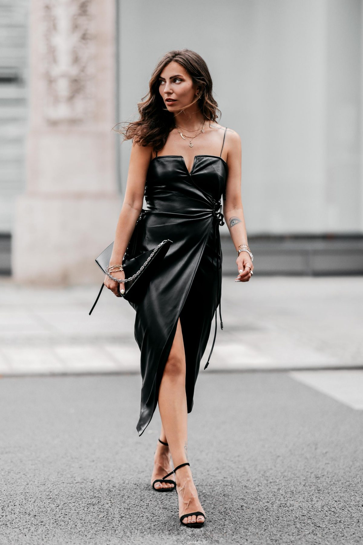 Wrapped Leather Dress